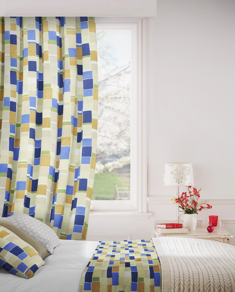 Jitterbug 130 Blue Gold Fire Resistant Curtains