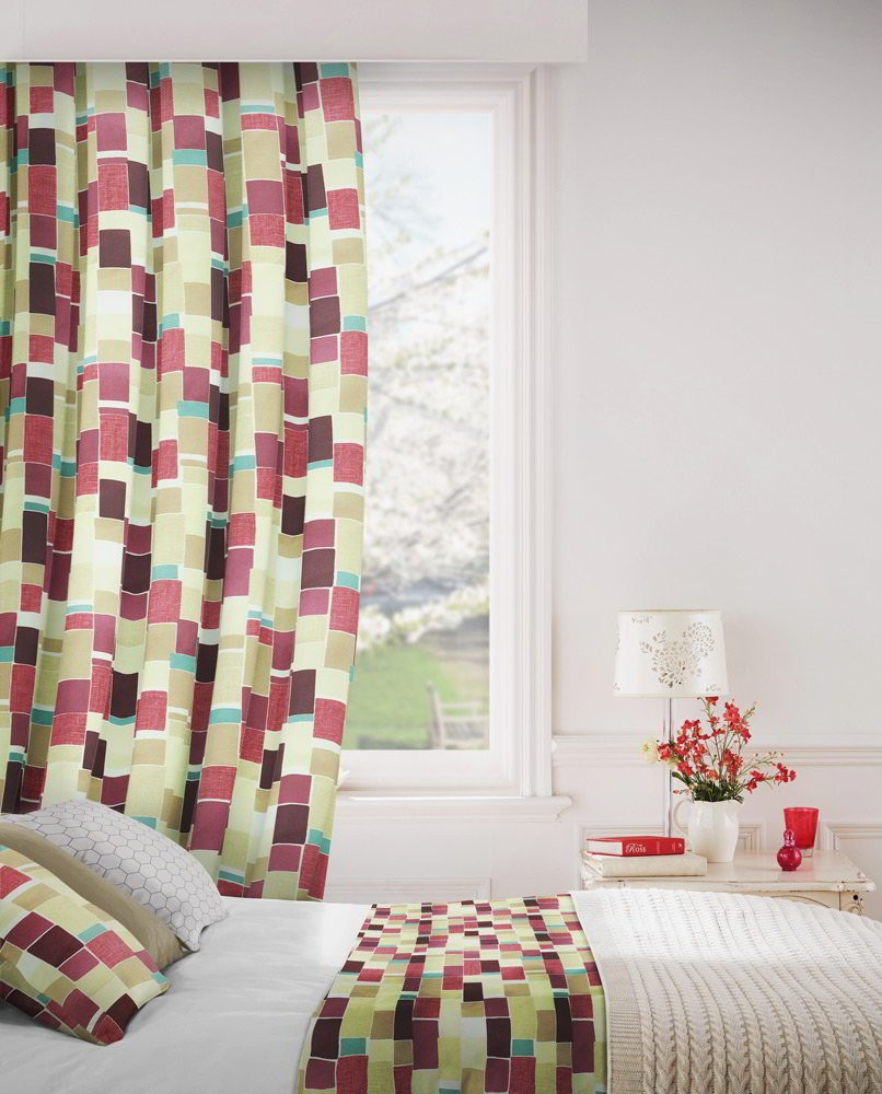 Jitterbug 681 Mulberry Linen Fire Resistant Curtains
