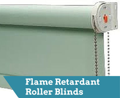 Flame retardant roller blinds