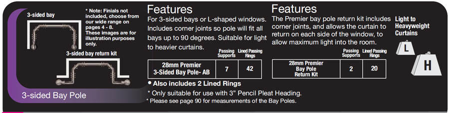 Curtain Rods 5 sided bay window curtain rods : How To Fit A Bay Curtain Pole / Direct Fabrics Blog :Direct Fabrics