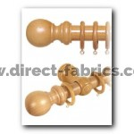 240cm28mm County Wood Curtain Pole Set  Antique Pine