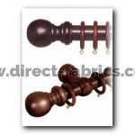 300cm28mm County Wood Curtain Pole Set Chestnut