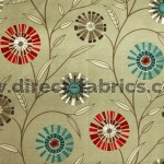 Carnival 840 Beige Red Fire Resistant Fabric