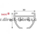 Profile size diagram 5600 curtain track