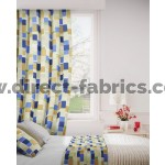 Jitterbug 130 Blue Gold Curtains Room Shot Mock up