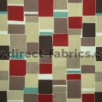 Jitterbug 480 Red Beige Fire Resistant roman blinds