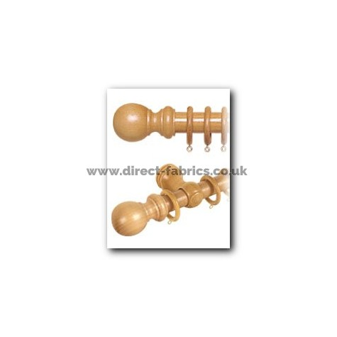 400cm28mm County Wood Curtain Pole Set Antique Pine