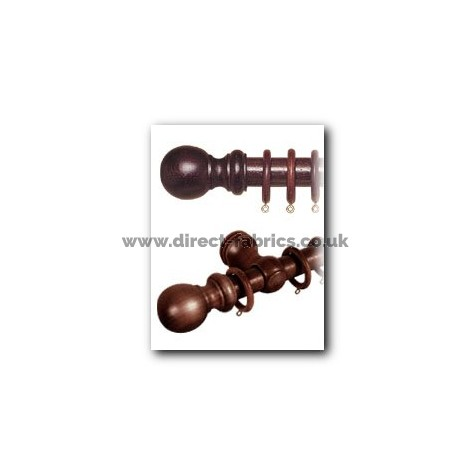 240cm28mm County Wood Curtain Pole Set Chestnut