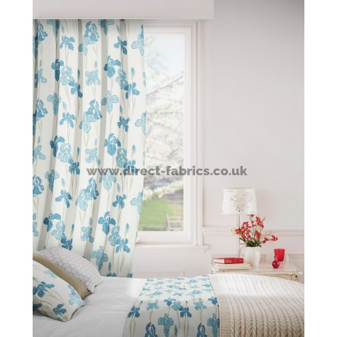 Amelia 179 Blue Cream Fire Resistant Curtains