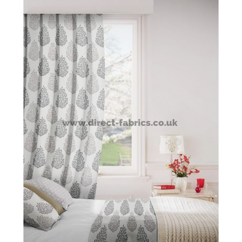 DF Mirror Charcoal Flame Retardant Curtains