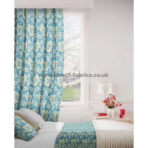 Oakley 179 Blue Cream Curtains Room Shot Mock up