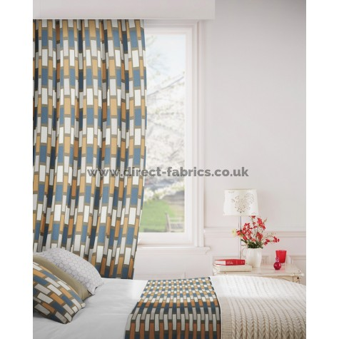 Plaza 716 Mocha Indigo Curtains Room Shot Mock up