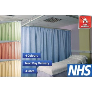 Cubicle Curtains Washable FR NHS Certified 4 Colours 4 Sizes