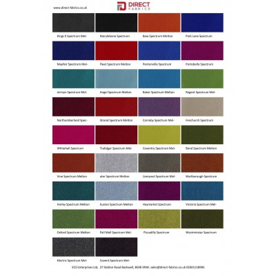 Coloured Wool Serge Colour Card - Flame Retardant Wool Serge