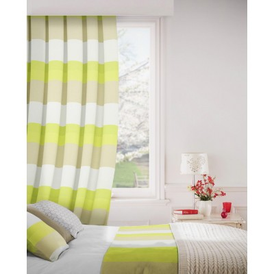 Escape 274 Lime Beige Curtains Room Shot Mock up