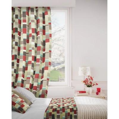 Jitterbug 480 Red Beige Curtains Room Shot Mock up