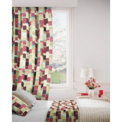 Jitterbug 681 Mulberry Linen Curtains Room Shot Mock up