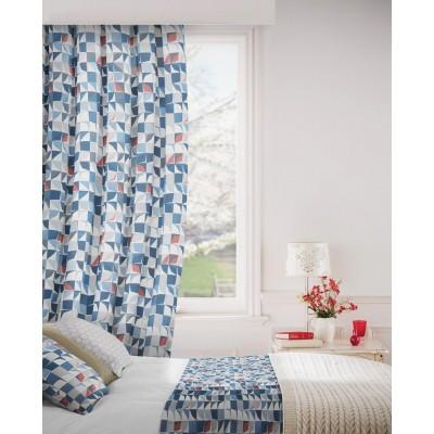 Kinetic 150 Blue Grey Curtains Room Shot Mock up