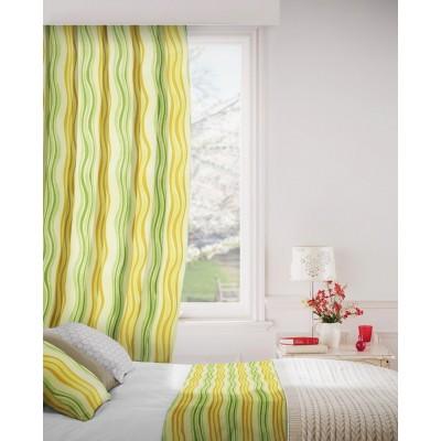 Twist 320 Gold Green Curtains Room Shot Mock up