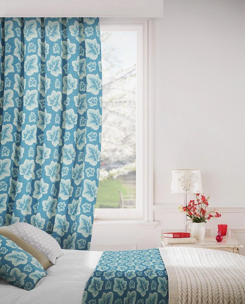 Burley 179 Blue Cream Fire Resistant Curtains