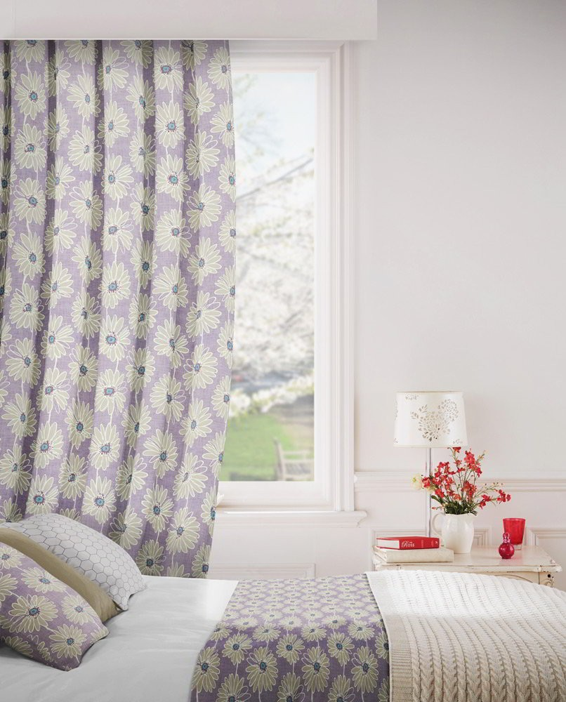 Daisy 114 Lavender Fire Resistant Curtains