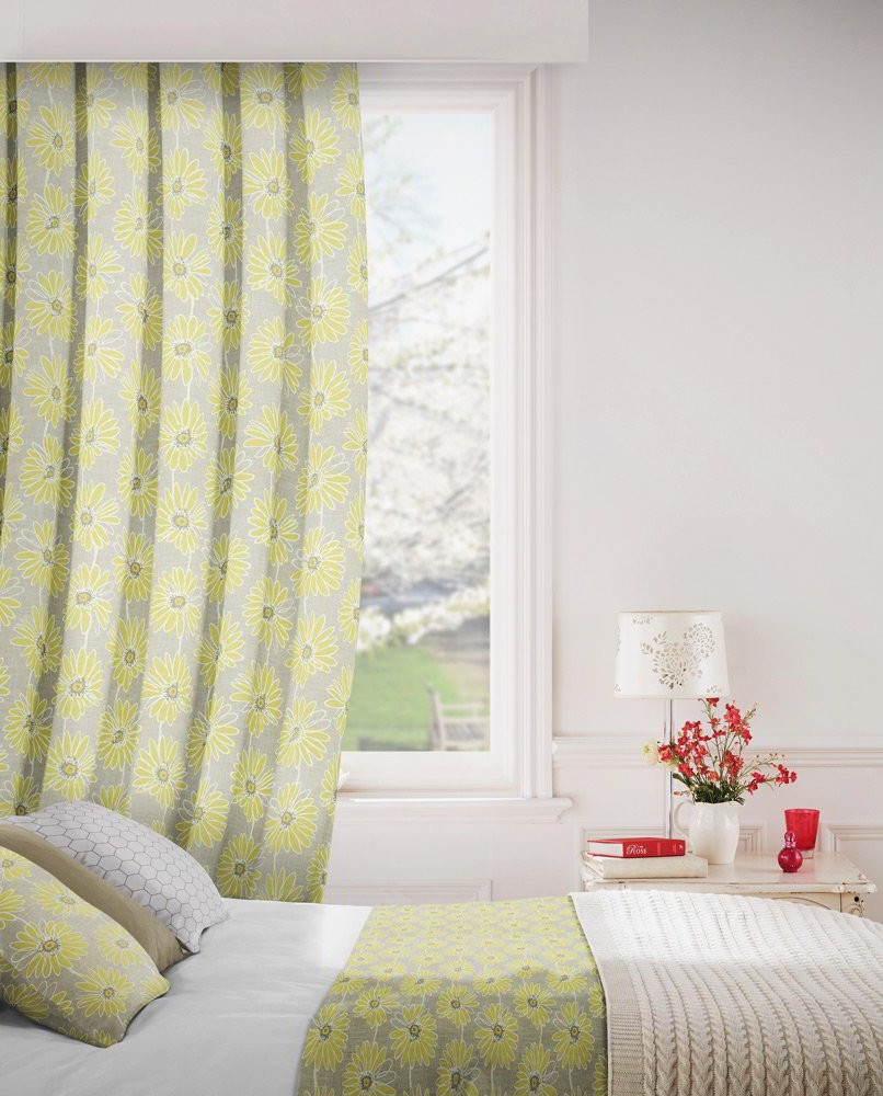 Daisy 237 Lime Flax Fire Resistant Curtains