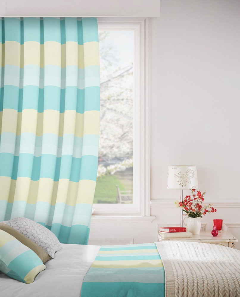 Escape 178 Aqua Cream Fire Resistant Curtains