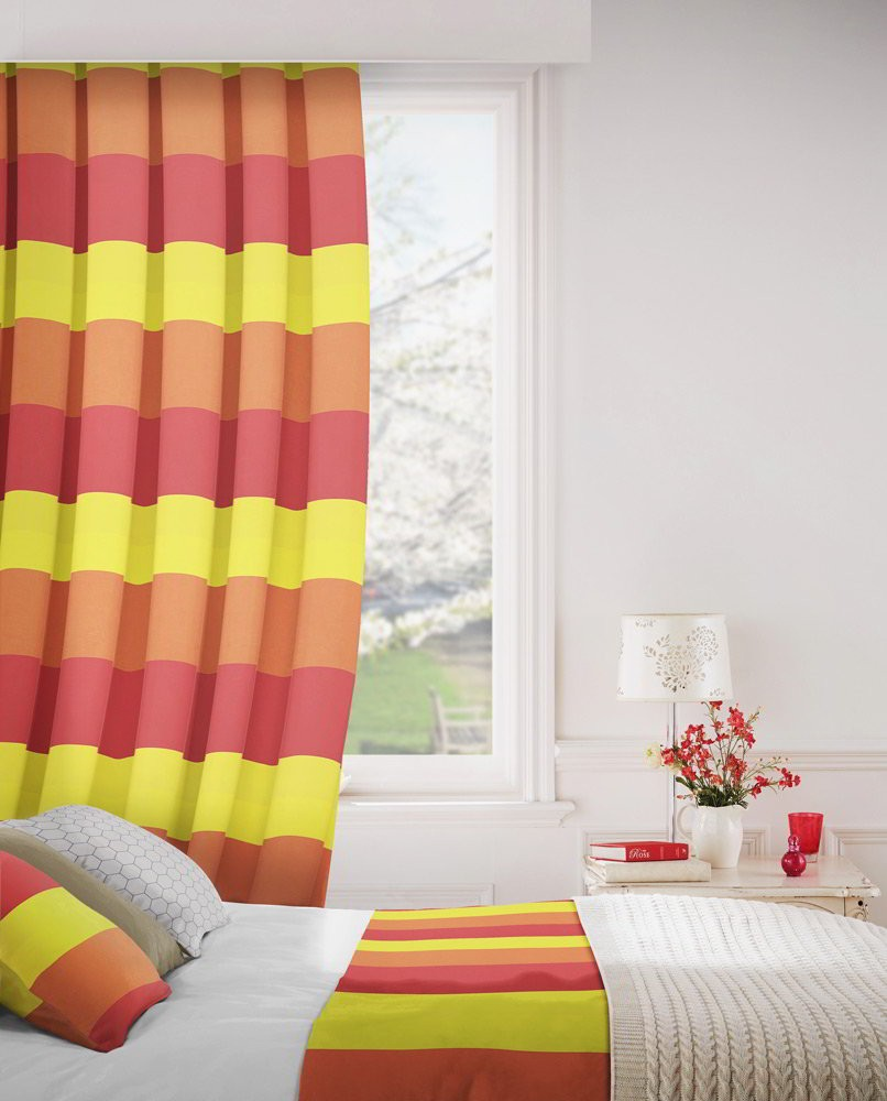 Escape 433 Red Yellow Fire Resistant Curtains