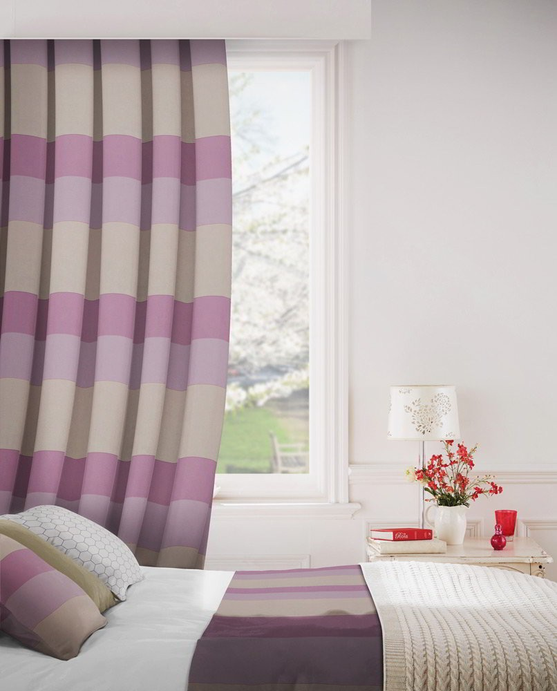 Escape 745 Mink Purple Fire Resistant Curtains