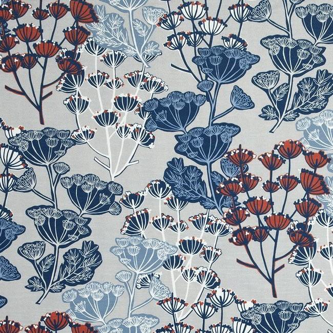 Flourish 150 Blue Grey Fire Resistant Curtains