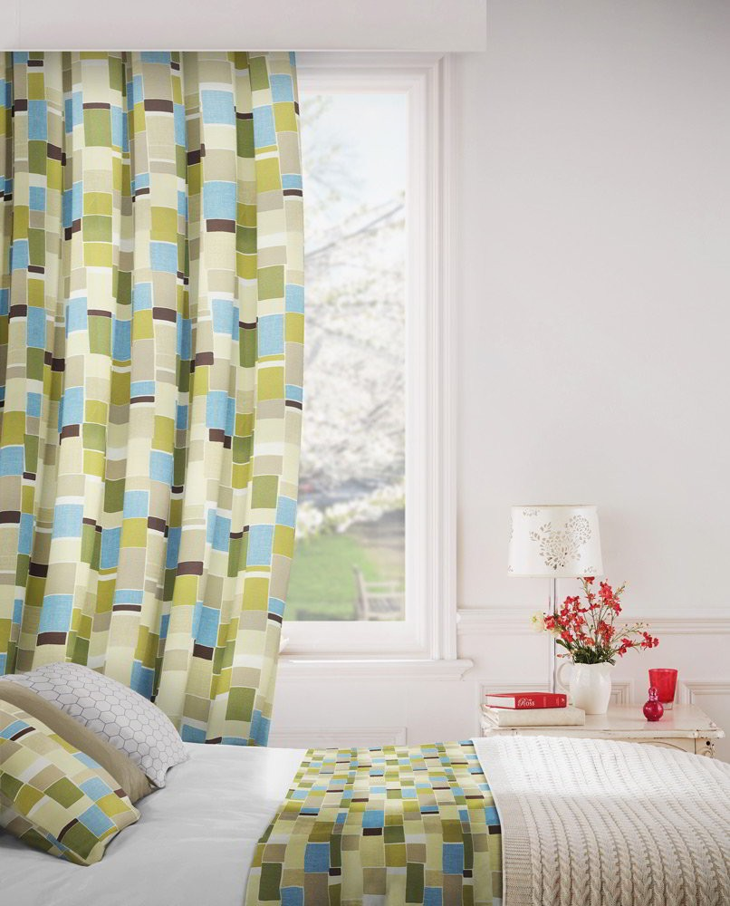 Jitterbug 237 Lime Flax Fire Resistant Curtains