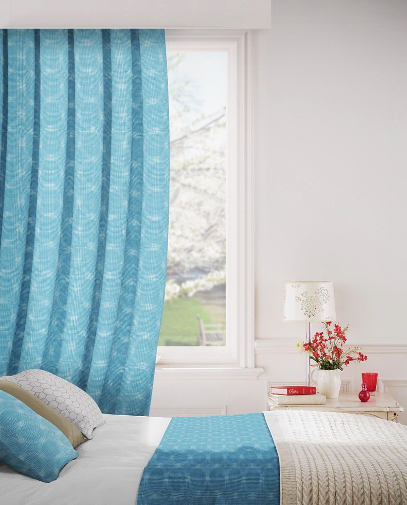 Logic 115 Turquoise Fire Resistant Curtains