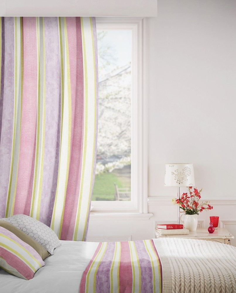 Midsummer 663 Mauve Lime Fire Resistant Curtains