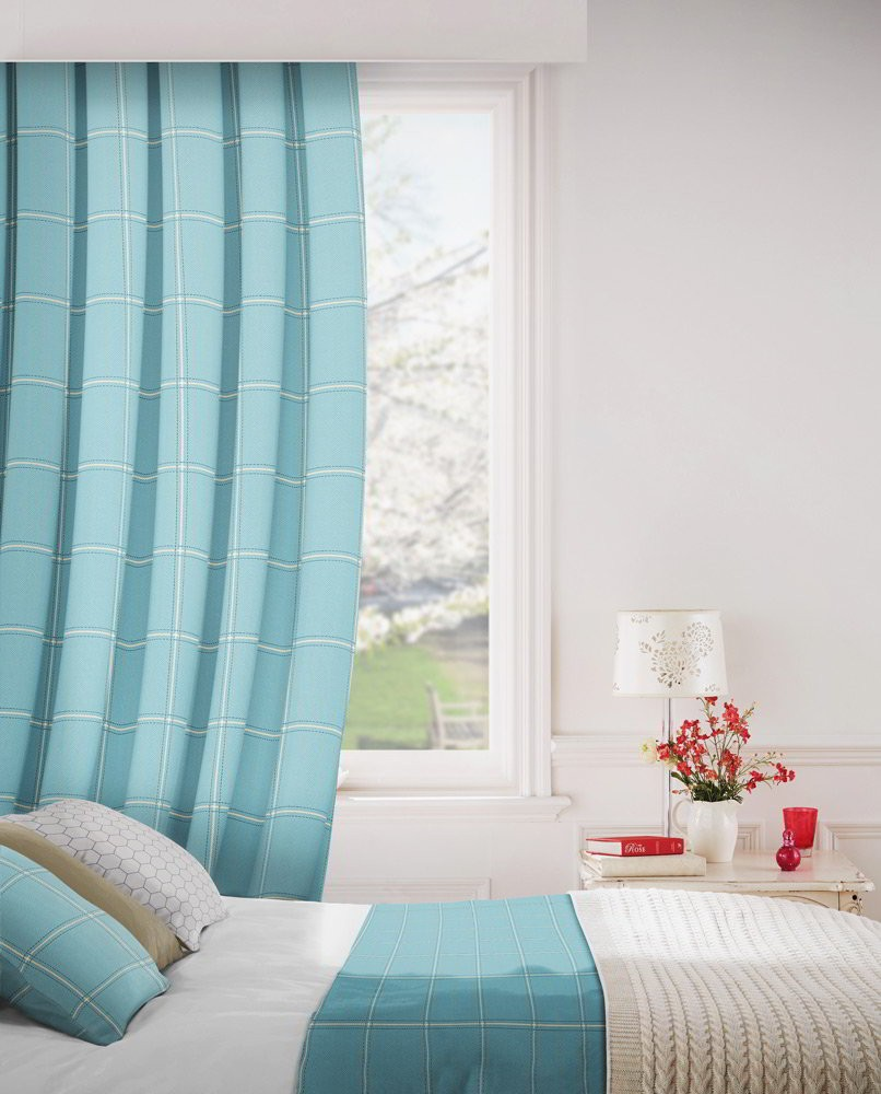 Milan 131 Azure Fire Resistant Curtains