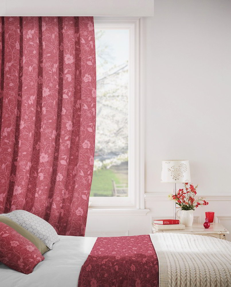 Monaco 609 Rose Fire Resistant Curtains