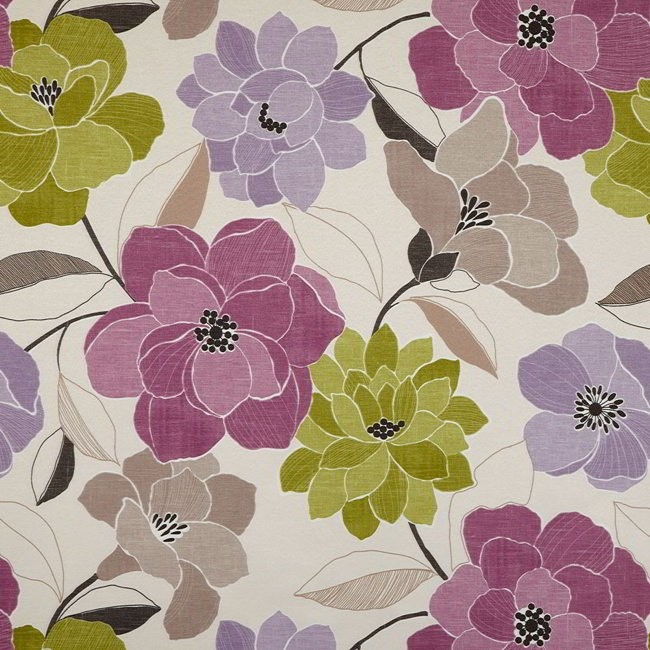 Poetry 663 Mauve Lime Fire Resistant Fabric