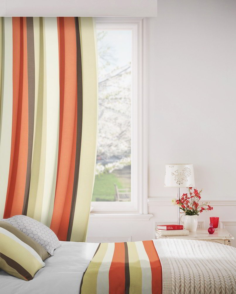 Sierra 842 Beige Orange Fire Resistant Curtains