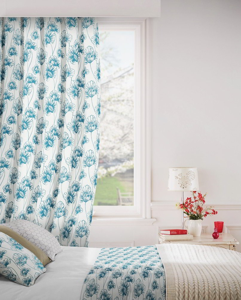 Tiffany 179 Blue Cream Fire Resistant Curtains