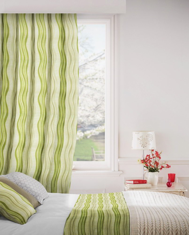 Twist 237 Lime Flax Fire Resistant Curtains