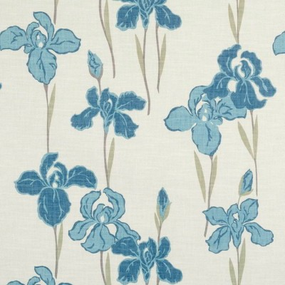 Amelia 179 Blue Cream Fire Resistant Fabric