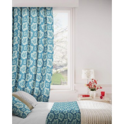 Burley 179 Blue Cream Fire Resistant Curtains