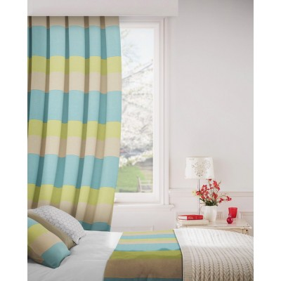 Escape 289 Teal Latte Fire Resistant Curtains