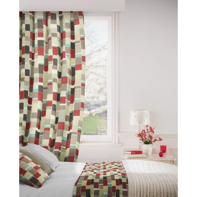Jitterbug 480 Red Beige Fire Resistant Curtains