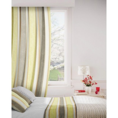 Midsummer 391 Lemon Silver Fire Resistant Curtains