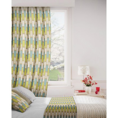 Plaza 289 Teal Latte Fire Resistant Curtains