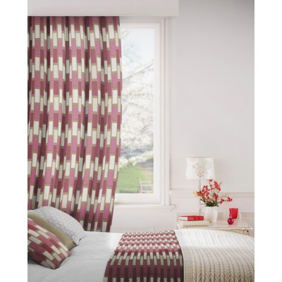 Plaza 457 Raspberry Chocolate Fire Resistant Curtains