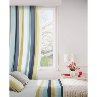 Verano 101 Blue White Fire Resistant Curtains