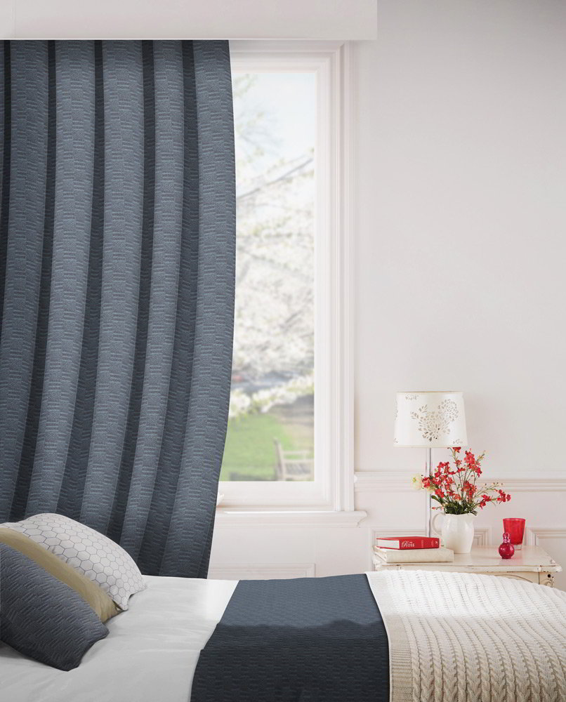 Tenby 105 Indigo Fire Resistant Curtains Direct Fabrics
