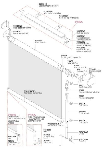 Crank roller blinds Components