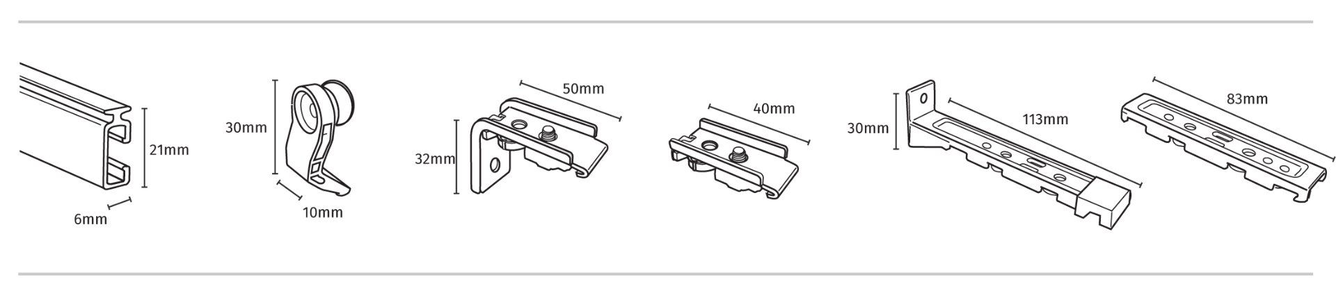 FineLine Curtain Track Components